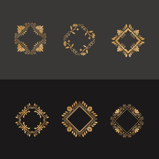 Monograms frame set Vector set of flower frames design. Gold monograms and emblems in trendy liner style isolated. Golden floral and nature motifs. Perfect for flower shop, nature cosmetics, jewelry shop. good condition stock illustrations