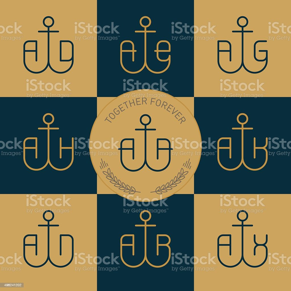 Monogramme mit Anker und Buchstaben bestehen. Vektor-Linie Symbole – Vektorgrafik