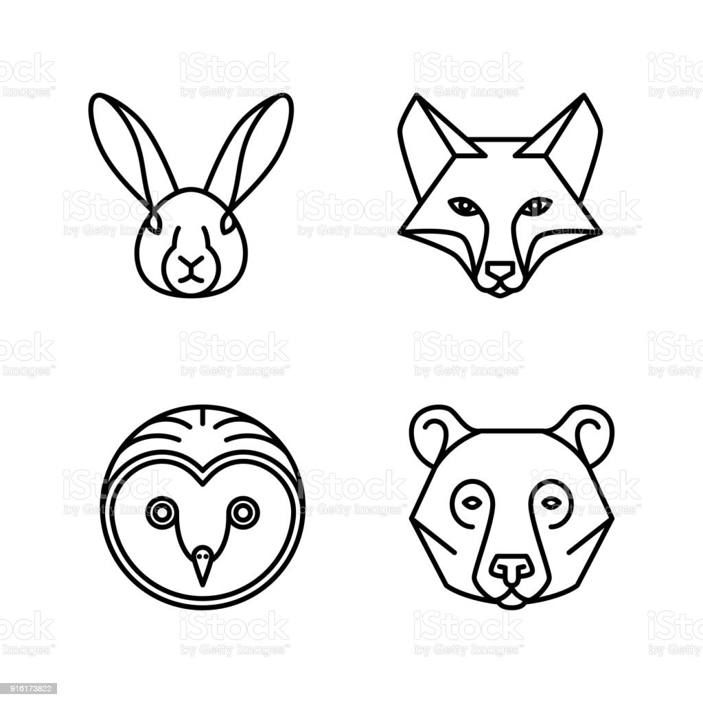 單線動物面孔向量藝術插圖