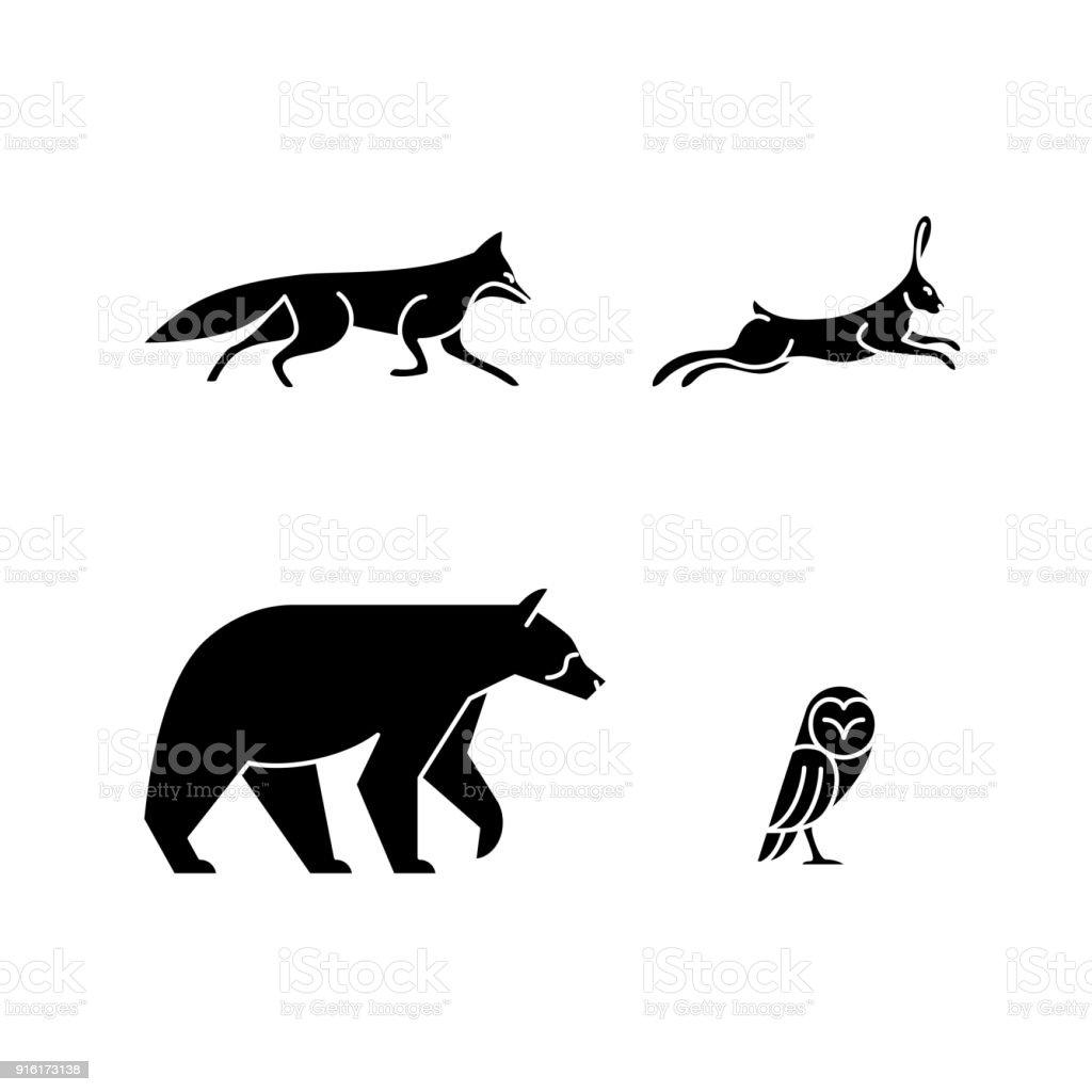 Animales de línea única - ilustración de arte vectorial