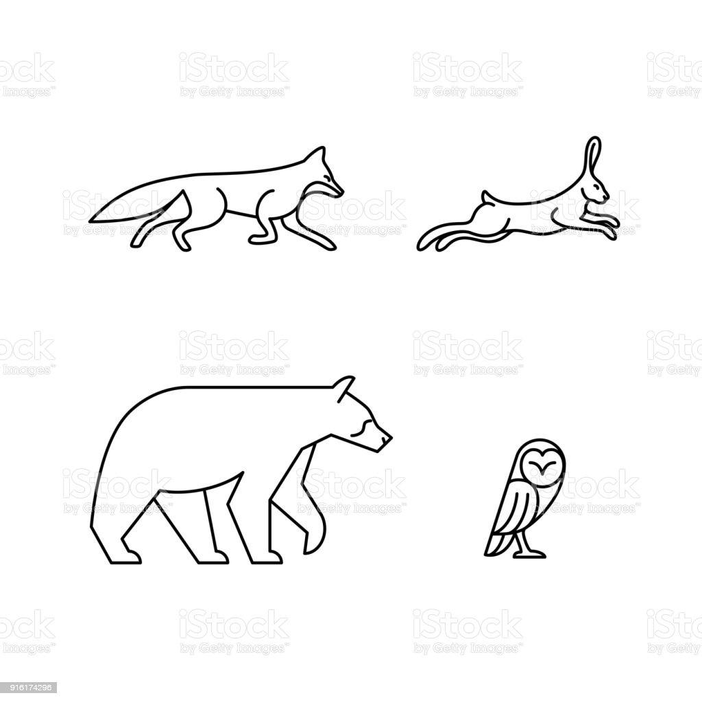 單線動物向量藝術插圖