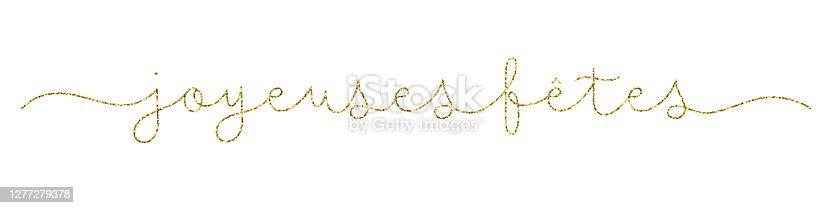 istock JOYEUSES GOLD monoline calligraphy banner (HAPPY HOLIDAYS in English) 1277279378