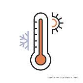 istock Monoline Icon — Thermometer 1271159631