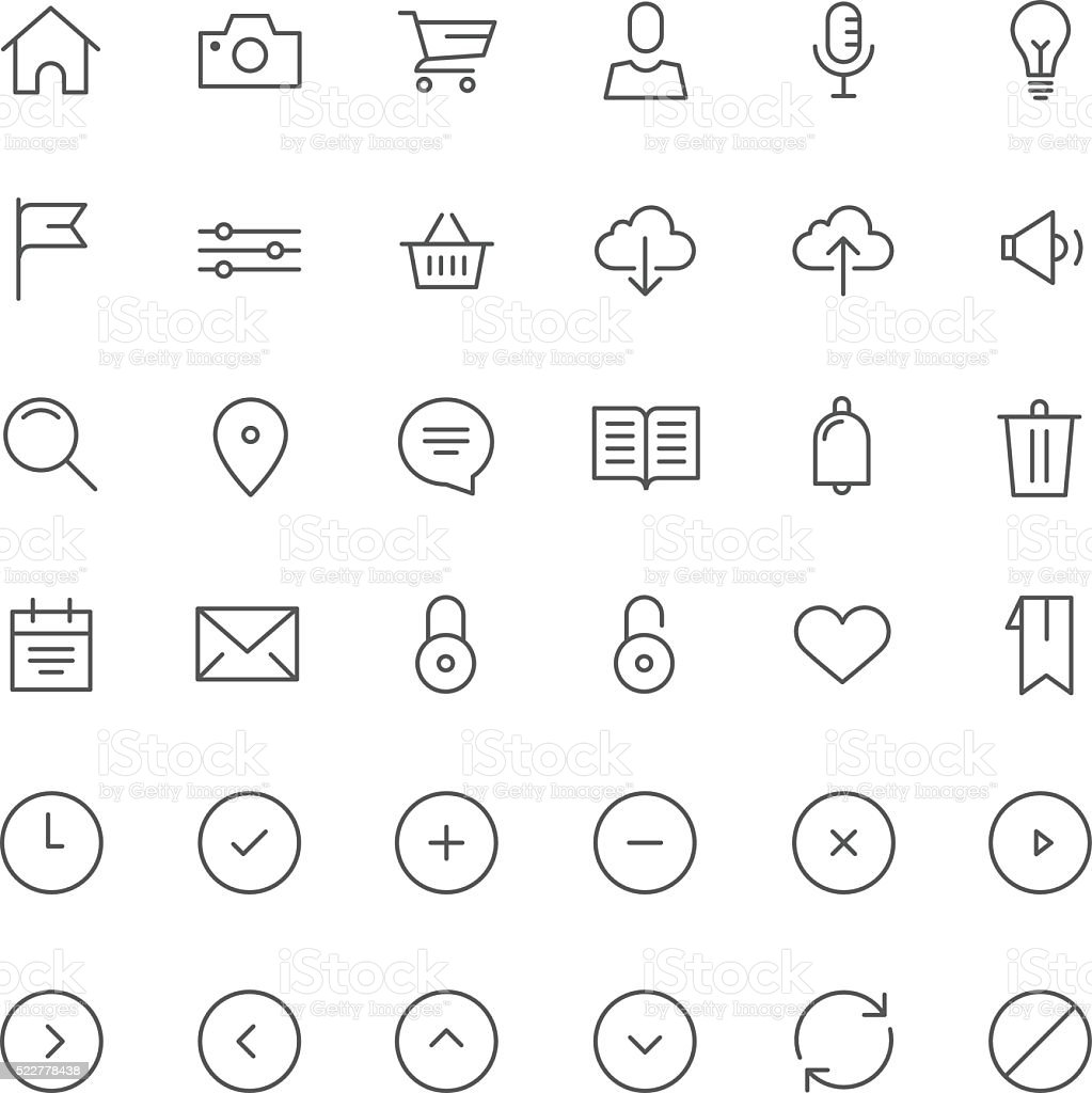 Monoline Vector Icon Set for Mobile and Web vector art illustration