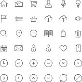 Monoline Vector Icon Set for Mobile and Web
