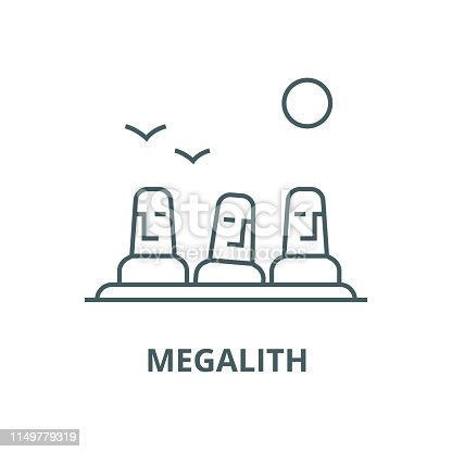 Monolith,megalith,easter land vector line icon, outline concept, linear sign