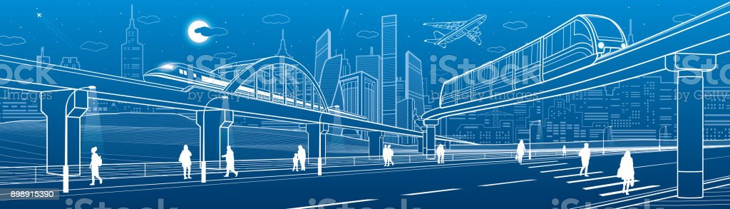 Monorail bridge across the highway. Railroad overpass. Train move. Urban infrastructure, modern city, industrial architecture. People walking. White lines illustration, vector design art vector art illustration