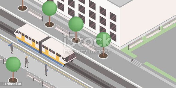 Monorail station isometric vector illustration. Modern urban railroad, express city travel service, public passenger conveyance business, rail transport. People on platforms waiting light rail