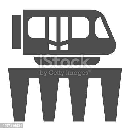 Monorail train solid icon, Public transport concept, Monorail subway sign on white background, Monorail and Tram icon in glyph style for mobile concept and web design. Vector graphics