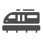 Monorail train solid icon, transportation symbol, Monorail subway vector sign on white background, railway transport icon in glyph style for mobile concept and web design. Vector graphics