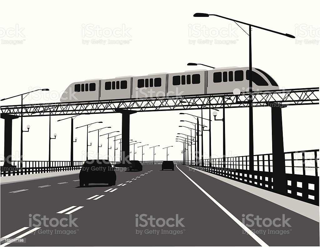 Monorail Vector Silhouette royalty-free stock vector art