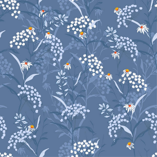 Monotone Autumn seamless pattern vector with white and blue berries and leaves. Fall colorful floral background.pattern for fashion,fabric and all prints vector art illustration