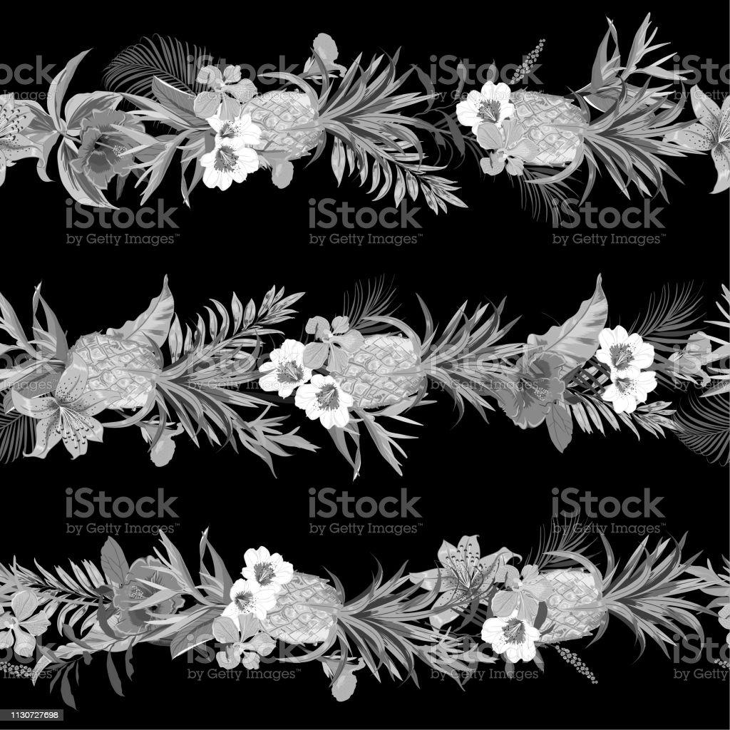 モノトーンの黒とグレーの熱帯エキゾチックな森夏に咲く花や果物をファッションファブリック壁紙黒の背景色にすべて印刷の水平方向のストライプ デザインで作成 イラストレーションのベクターアート素材や画像を多数ご用意 Istock
