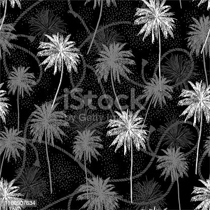 Monotone black and white Seamless pattern Tropical plam trees layer on sailor rope texture summer mood seamless pattern in vector design for fashion,fabric,web,wallpaper and all prints