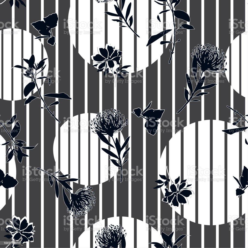 モダンなストライプ水玉ベクトル繊細な花の壁紙 野生の花のシルエット花柄シームレス パターンのグレー モノトーンの黒 White イラストレーションのベクターアート素材や画像を多数ご用意 Istock