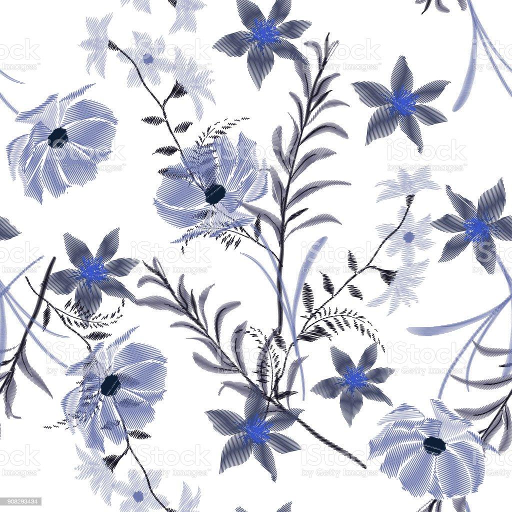 Vetores De Monotonica Azul Flores Silvestres De Bordado Arte