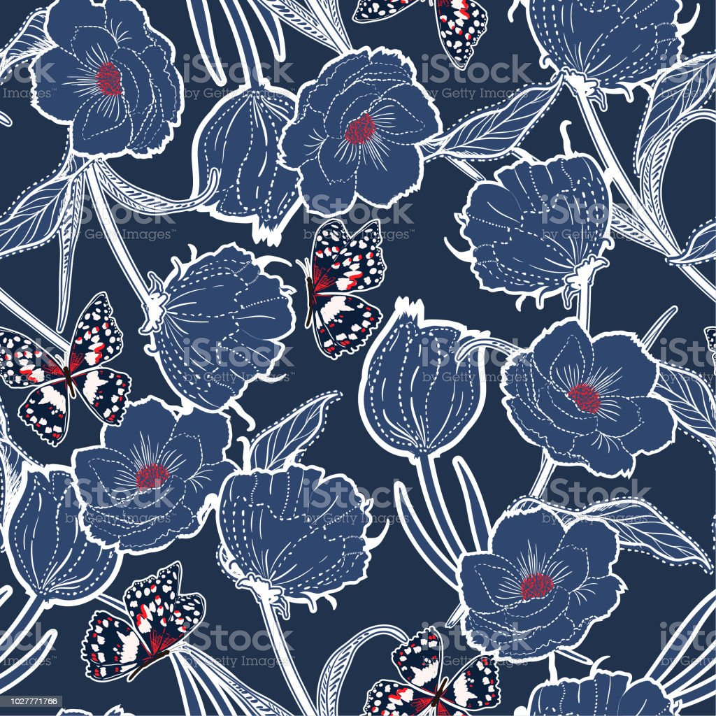 Contorno azul monótona mano graden dibujado en el tablero oscuro botánicas flores con mariposas, diseño de moda, tela, papel pintado - ilustración de arte vectorial
