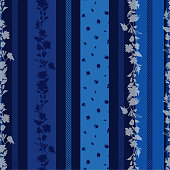 Monotone blue Seamless pattern with delicate Floral  with stripes amd pattern small flowers mixed wallpaper.