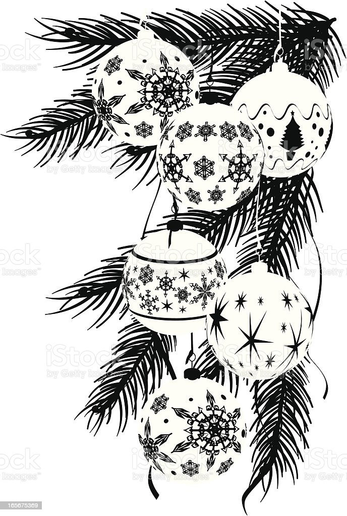 Monotone Graphic Baubles Corner - Christmas royalty-free stock vector art