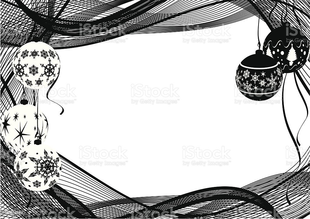Monotone Graphic Baubles Frame - Christmas 免版稅 monotone graphic baubles frame christmas 向量插圖及更多 一組物體 圖片