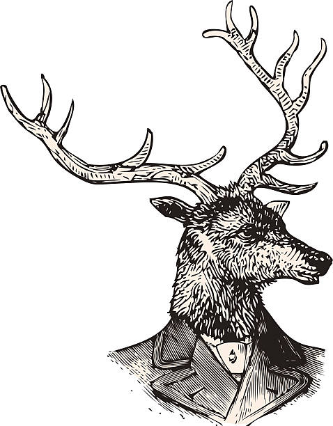Monsieur Deer vector art illustration