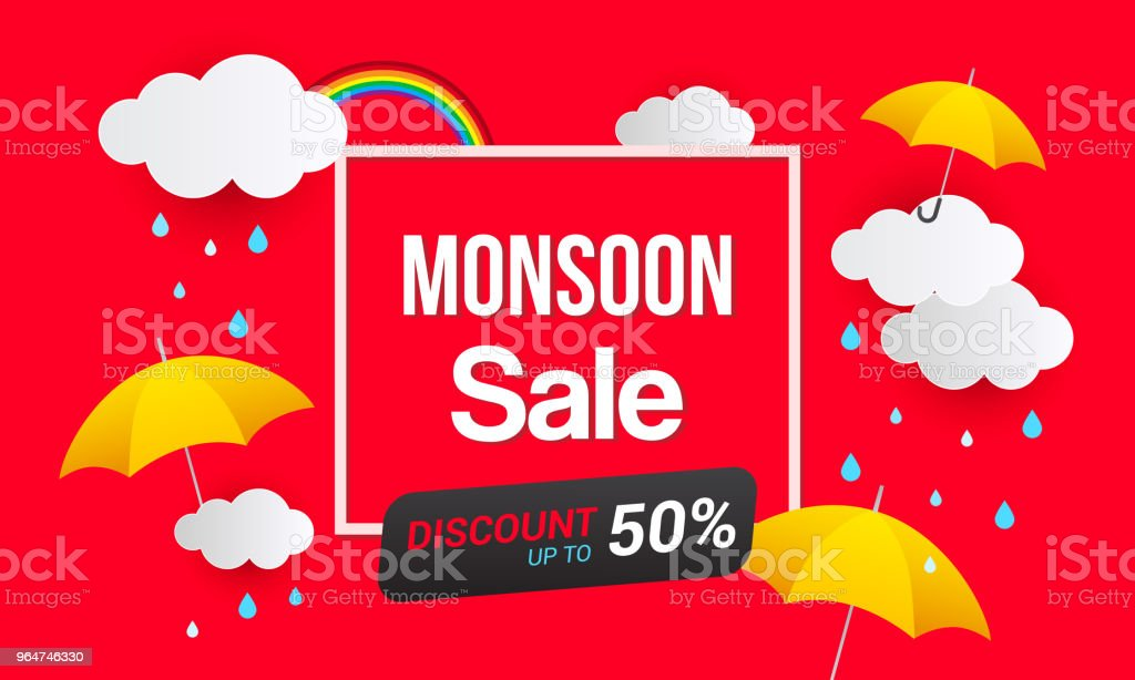 Monsoon Sale Banner Vector Illustration. Yellow umbrella and raining drops on red background. royalty-free monsoon sale banner vector illustration yellow umbrella and raining drops on red background stock vector art & more images of advertisement