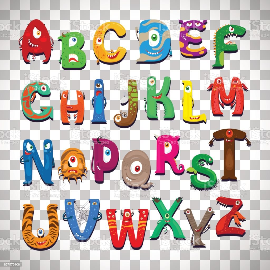monster alphabet on transparent background stock
