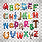 Monster alphabet, vector funny monster characters abc vector isolated on transparent background