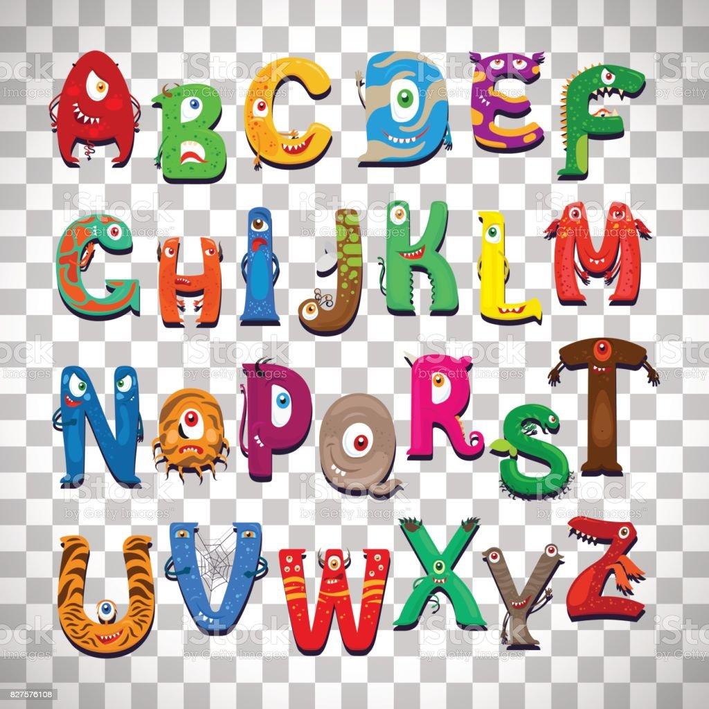 Monster alphabet on transparent background vector art illustration