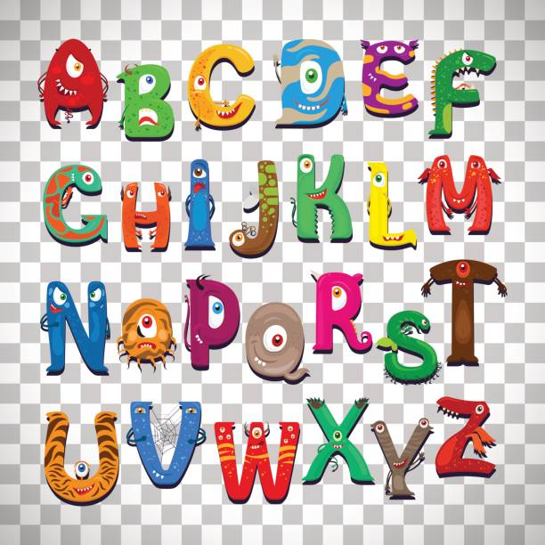 monster alphabet on transparent background - cartoon monsters stock illustrations, clip art, cartoons, & icons