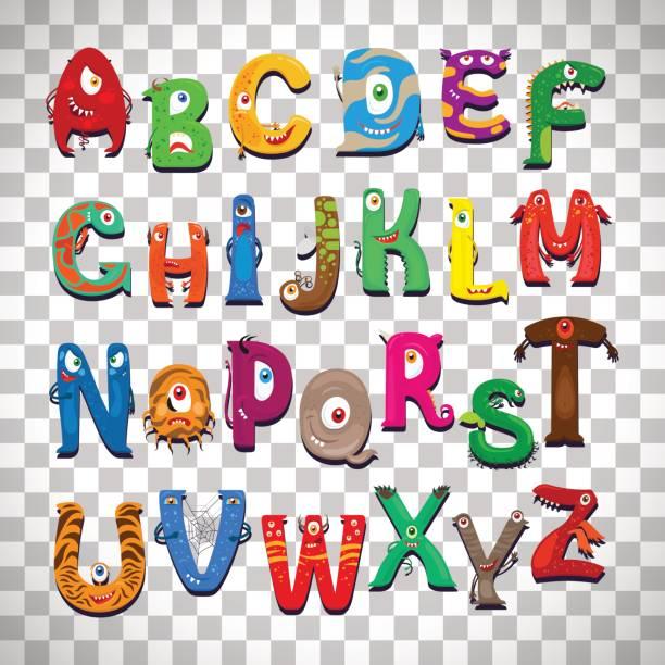 monster-alphabet auf transparenten hintergrund - cartoon monster stock-grafiken, -clipart, -cartoons und -symbole