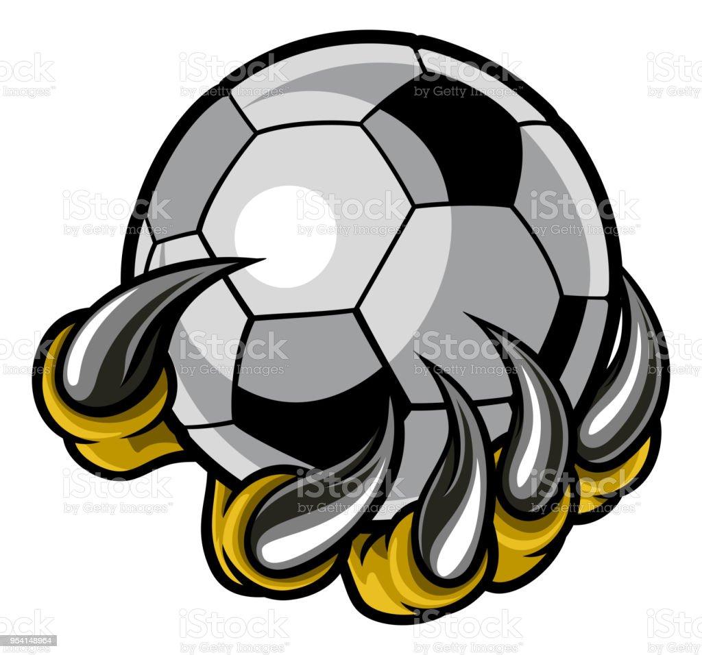 Monster animal claw holding Soccer Football Ball vector art illustration