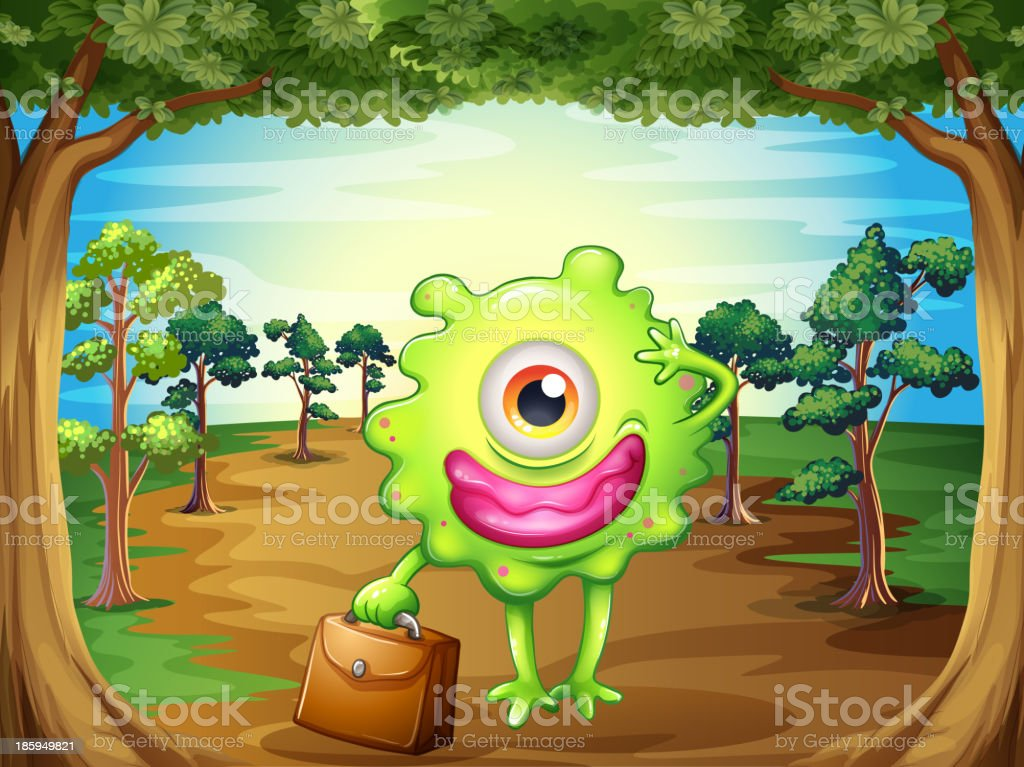monster at the forest holding a bag royalty-free monster at the forest holding a bag stock vector art & more images of alien