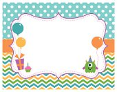 A vector illustration of a birthday party invitation card featuring a monster, balloons, chevron and polka dots. There is blank space for you to put your own message. Objects are grouped and layered for easy editing. Files included: EPS10, High Res JPG.