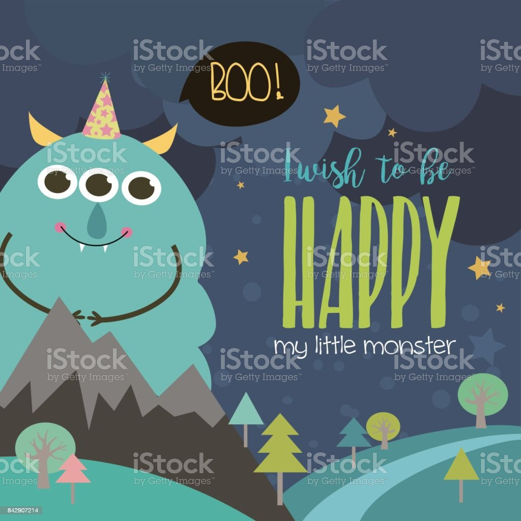 monster birthday party invitation card stock vector art more