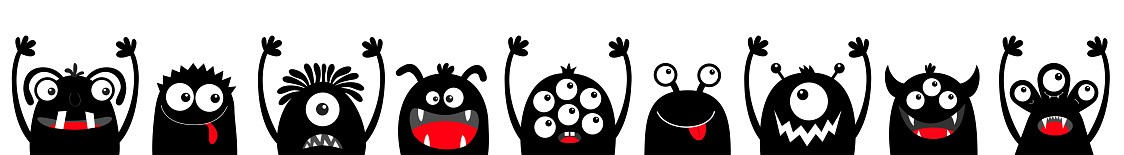 Monster black silhouette head face icon set line. Happy Halloween. Eyes, tongue, tooth fang, hands up. Cute cartoon kawaii scary funny baby character. White background. Flat design.