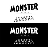 Monster Cartoon Alphabet Scary Typeace. Typography comic style font set, Poster, Invitation. vector illustrator