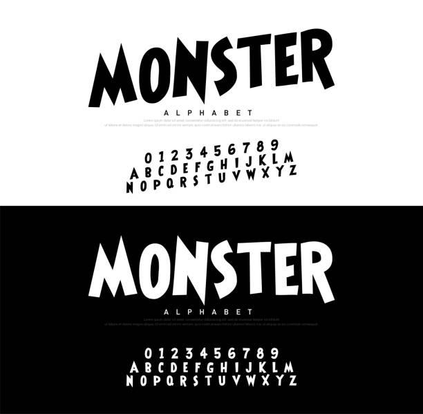 ilustraciones, imágenes clip art, dibujos animados e iconos de stock de monstruo de dibujos animados alfabeto de miedo typeace. - monstruo