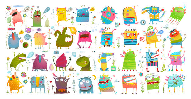 Monster character cartoon funny design for kids. Vector hand drawn clip art watercolor style illustration of colorful monstrous animals. Hand drawn nursery and baby characters design big collection. monster stock illustrations
