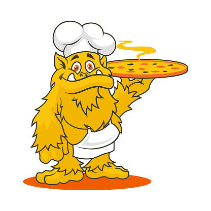 Monster character in chef hat and apron with hot pizza - vector mascot for pizzeria