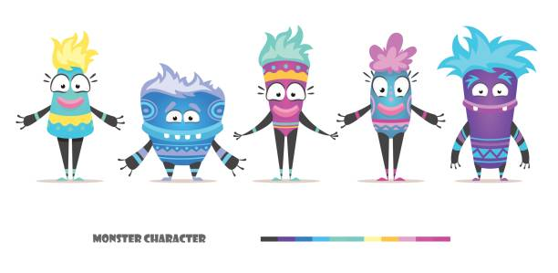 Monster character set Monster character set. Cute and stylized female and male alie isolated vector illustration. Funny yeti isolated color stock illustrations