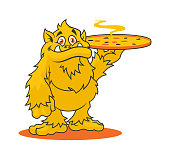Yellow cartoon monster character with hot scented pizza