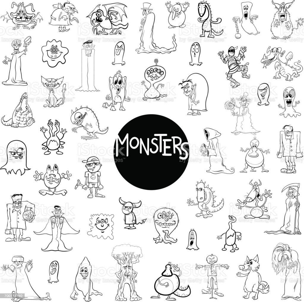 monster characters big set vector art illustration