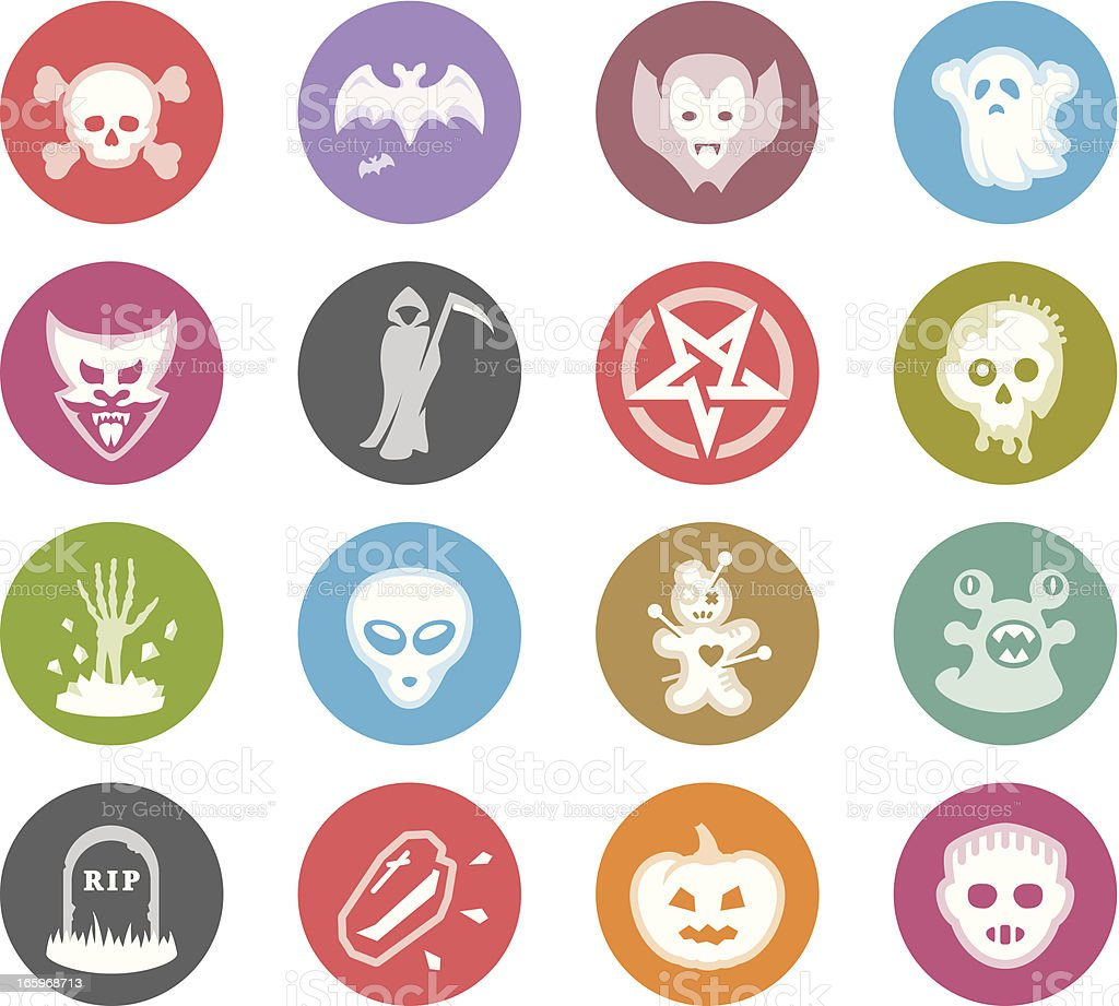 Monster Characters / Wheelico icons royalty-free stock vector art