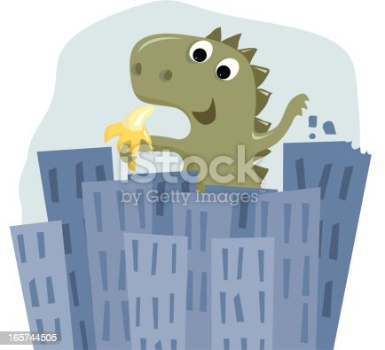 Vector illustration of a big cute monster rejecting the buildings he's been eating in favor of a nice healthy snack - a banana.