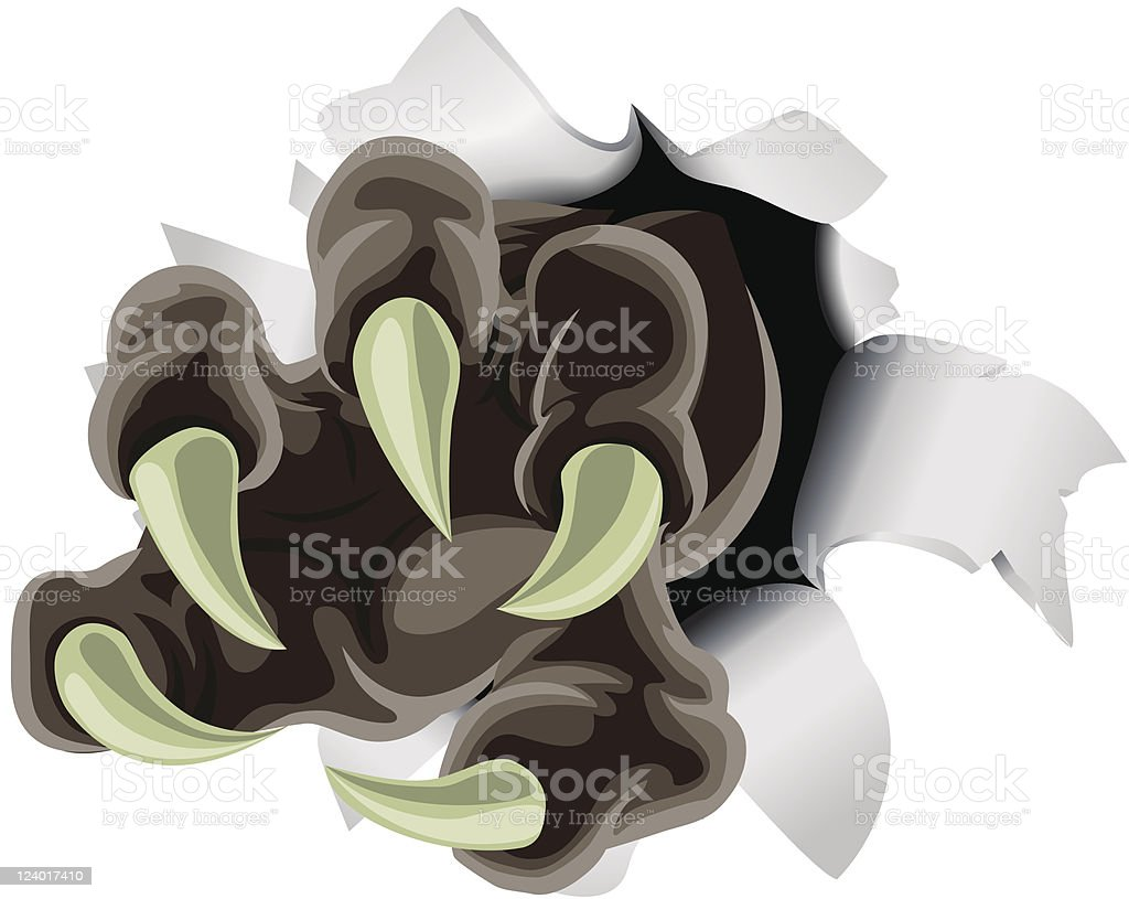 Monster claw breaking through background royalty-free stock vector art