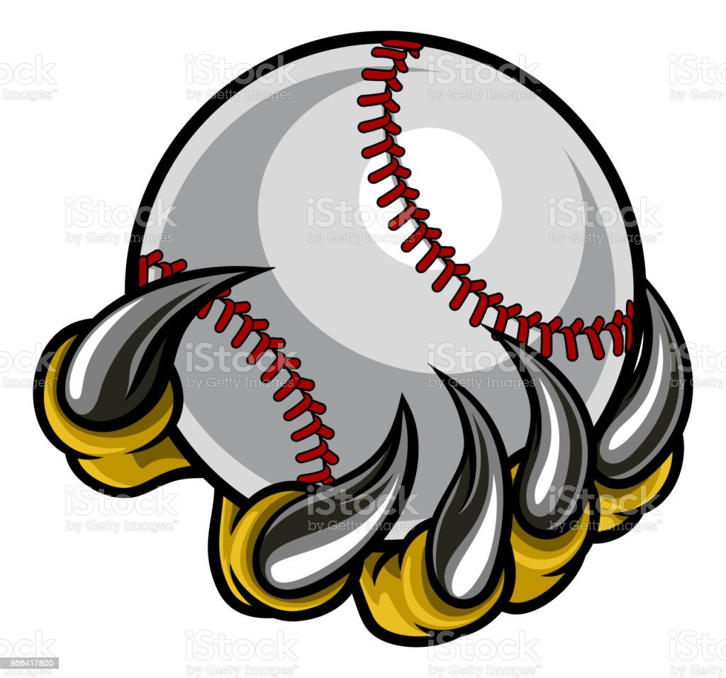 Monster claw holding Baseball Ball vector art illustration