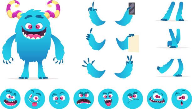 ilustraciones, imágenes clip art, dibujos animados e iconos de stock de constructor de monstruo. ojos boca partes emociones de criaturas lindos divertidas juegos vector diseño creación kit para niños fiesta de hallowen - monstruo