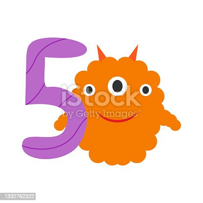 istock Monster cute funny kind and festive number five 1332762322