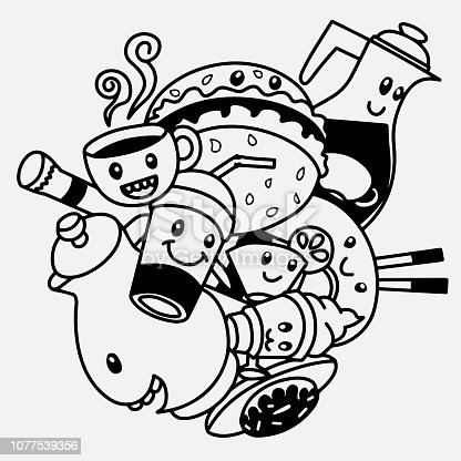 ᐈ Imagen De Doodle De Monstruo Para Colorear Libro Vector